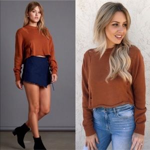 Cotton Candy LA Copper Distressed Crop Sweater